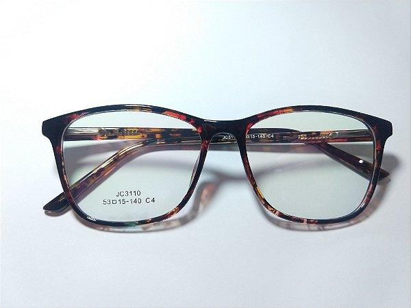 Óculos Para Grau Arredondado Acetato Marrom Mesclado