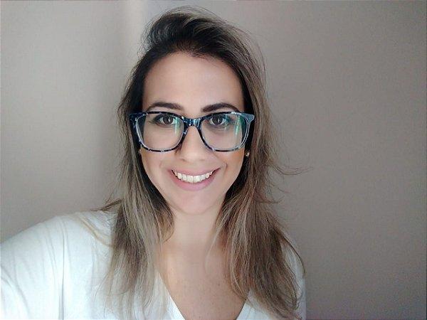 Óculos Para Grau Quadradinho Acetato Azul Marmorizado