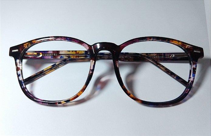 Óculos Para Grau Redondo Acetato Marrom Estampada