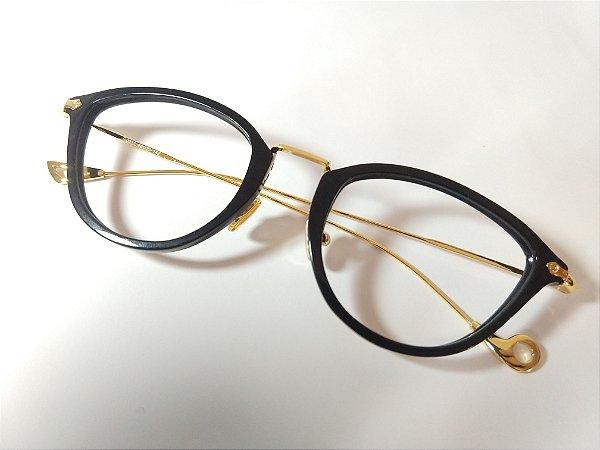 Óculos Para Grau Gatinho Acetato Preto Haste Metal Dourado