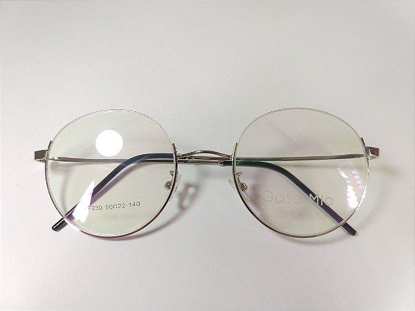 Óculos Para Grau Metal Prata Redondo Nylon Por Cima Ipanema