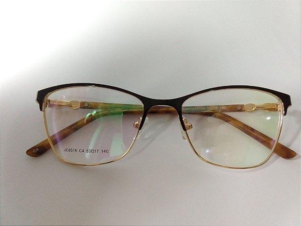 Óculos Para Grau Metal Marrom Com Haste Marrom Claro