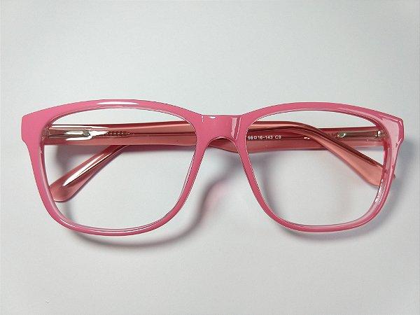 Óculos Gata Mia Acetato Rosa Chiclete Quadradinho