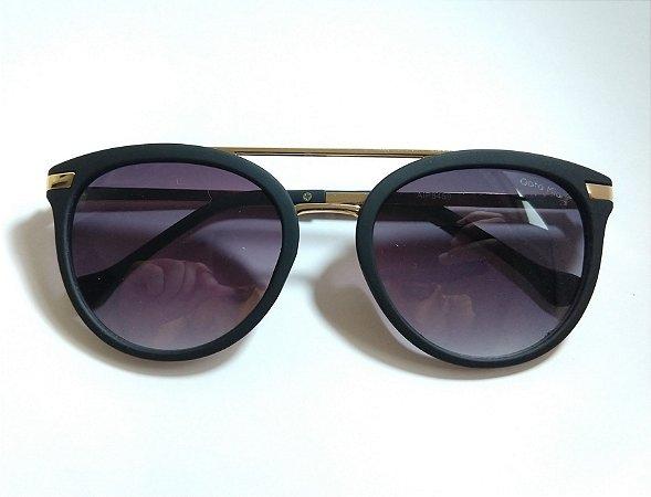 Óculos de Sol Redondo Preto Fosco Lente Proteção UVA/UVB