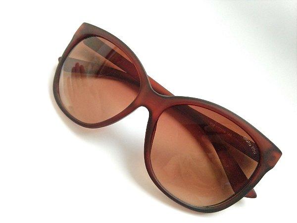 Óculos de Sol Redondo Curvado Marrom Fosco Proteção UVA/UVB
