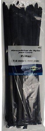 Abracadeira Nylon Brasfort 7.6mm x 400mm com 50 peças Cor: Preto