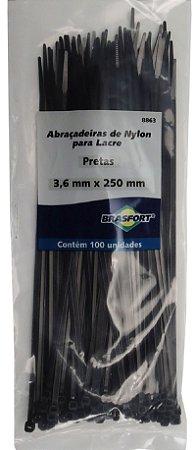 Abracadeira Nylon Brasfort 3.6mm x 250mm com 100 peças Cor: Preto