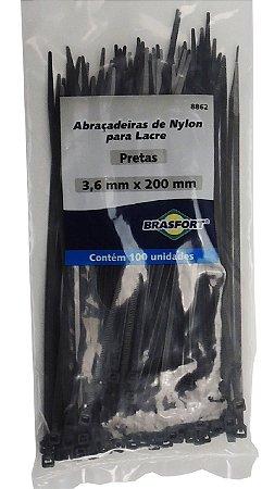 Abracadeira Nylon Brasfort 3.6mm x 200mm com 100 peças Cor: Preto