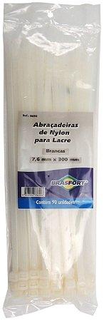 Abracadeira Nylon Brasfort 7.6mm x 300mm com 50 peças Cor: Branco
