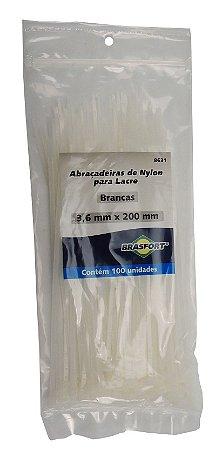 Abracadeira Nylon Brasfort 3.6mm x 200mm com 100 peças Cor: Branco