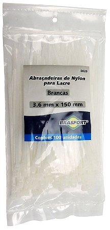 Abracadeira Nylon Brasfort 3.6mm x 150mm com 100 peças Cor: Branco