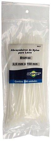 Abracadeira Nylon Brasfort 2.5mm x 150mm com 100 peças Cor: Branco