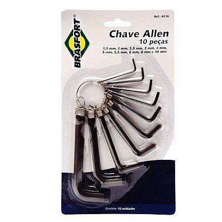 Chave Brasfort Allen 1,5mm à 10mm - 10peças Aço Carbono