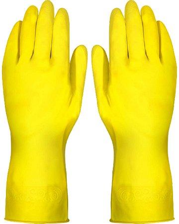 Luva Plastcor Latex Amarela Acabamento Flocado / Tam 10