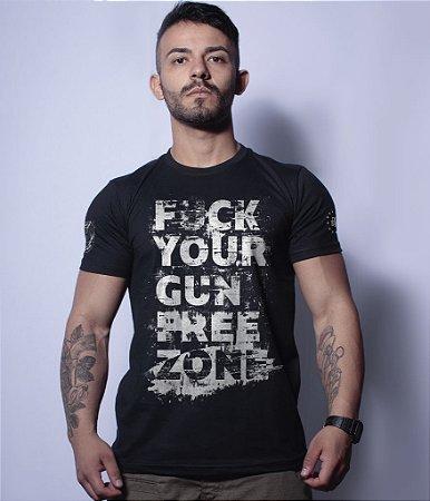 Camiseta Militar Magnata Fuck Gun Free Zone