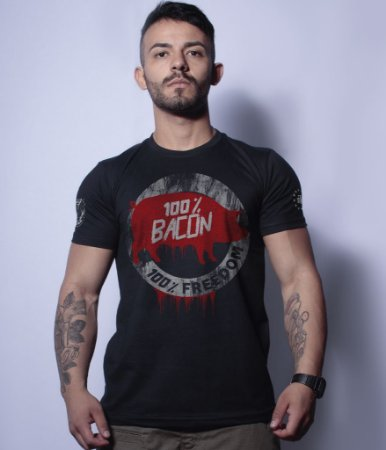 Camiseta Militar Magnata 100% Bacon 100% Freedom