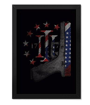 Poster Militar com Moldura Magnata Glock Three Percent