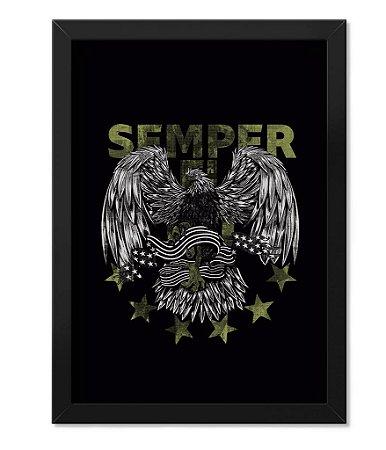 Poster Militar com Moldura Magnata Semper Fidelis