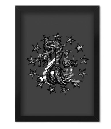 Poster Militar com Moldura Magnata Join Or Die Three Percent