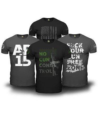 Combo 4 Camisetas No Gun Control Magnata 556