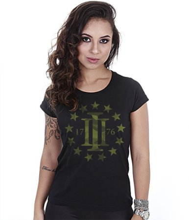 Camiseta Militar Baby Look Feminina Magnata Three Percent 1776
