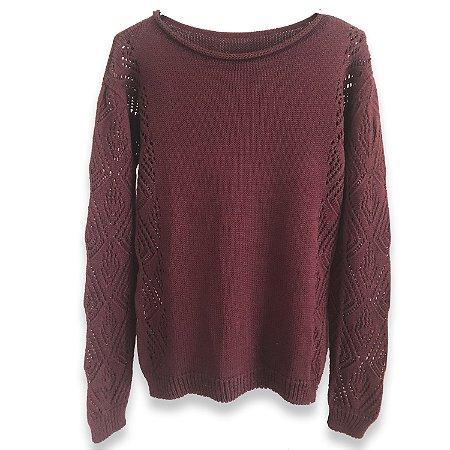 Cozy Classic   - Blusa em Tricot Trançada em Marsala