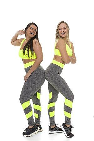Legging Crunches Mescla + Neon