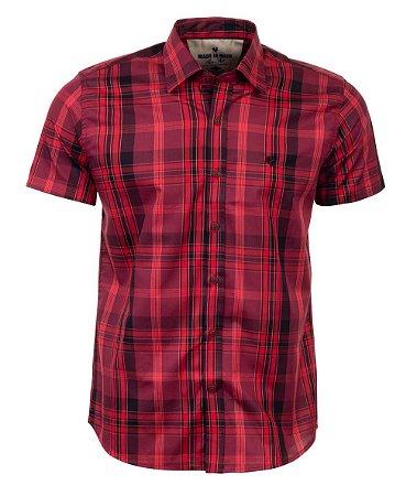 Camisa Made in Mato Xadrez Manga Curta Borgonha