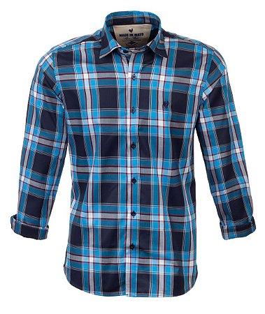 Camisa Masculina Made in Mato Xadrez Mix Azul com Vermelho