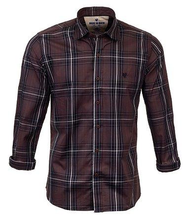Camisa Masculina Made in Mato Xadrez Black Onix
