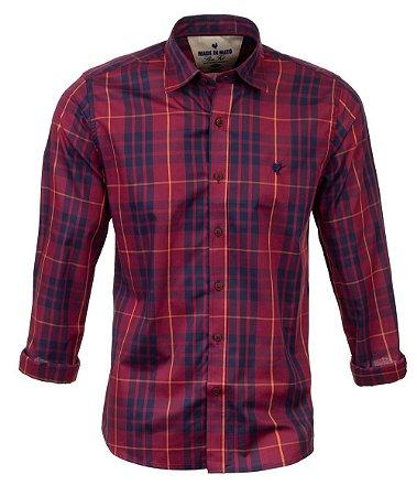 Camisa Masculina Made in Mato Xadrez Carmim e Marinho