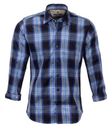 Camisa Masculina Made in Mato Xadrez Grafite com Azul