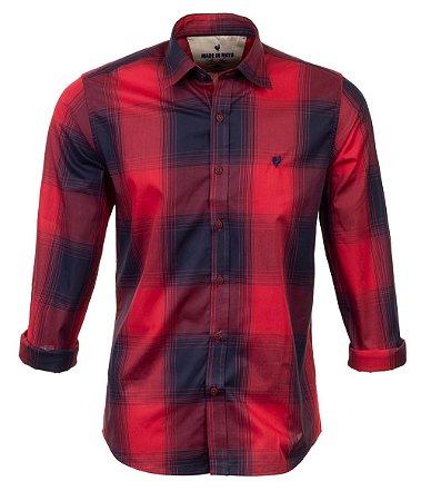 Camisa Masculina Made in Mato Xadrez Vemelho Carmesin
