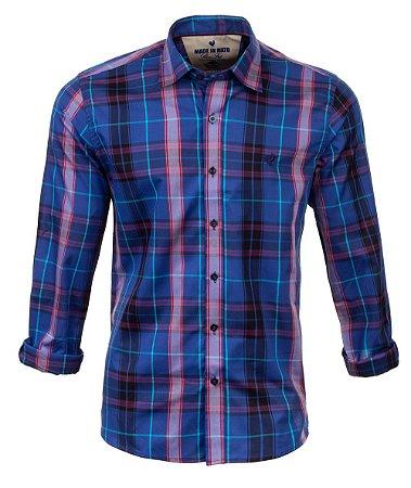 Camisa Masculina Made in Mato Xadrez Azul Cobalto