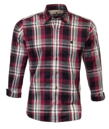 Camisa Masculina Made in Mato Xadrez Onix e Vermelho