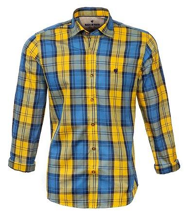 Camisa Masculina Made in Mato Xadrez Amarela com Azul
