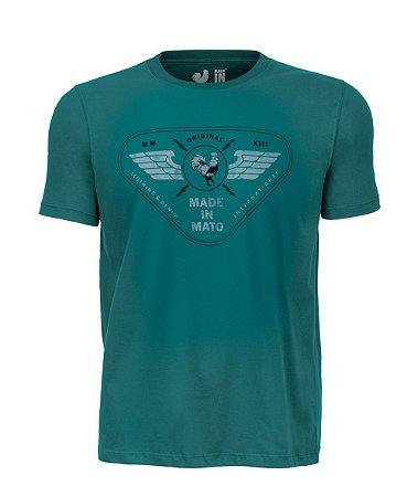 Camiseta Estampada Made in Mato Military Verde Try Vegan