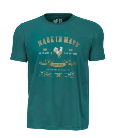 Camiseta Estampada Made in Mato Rooster Gold Verde