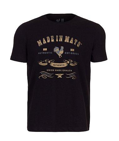 Camiseta Estampada Made in Mato Rooster Gold Preta