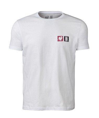 Camiseta Estampada Made in Mato Rooster Red Branca