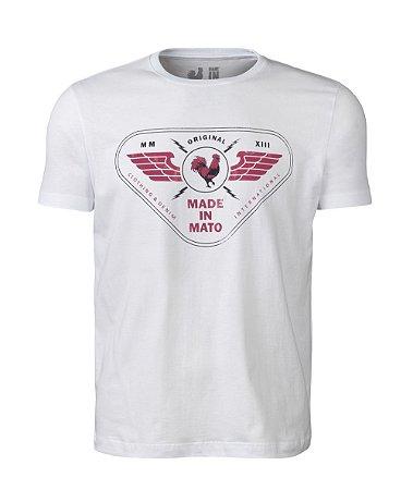 Camiseta Estampada Made in Mato Military  Branca
