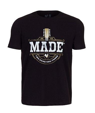Camiseta Estampada Made in Mato Violão Preta