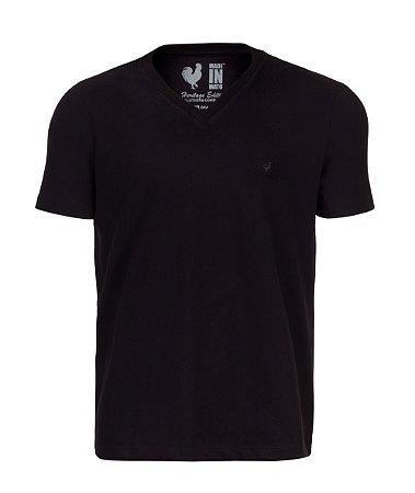 Camiseta Basic Preta Gola V