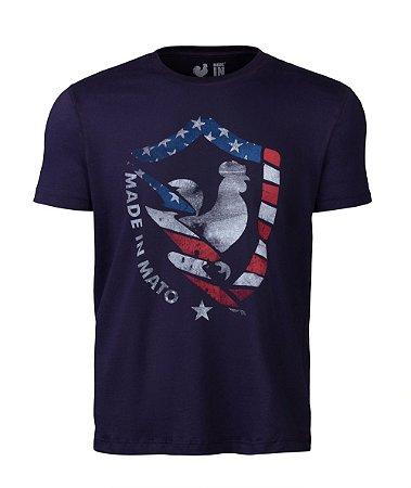Camiseta Estampada Made in Mato New EUA Azul