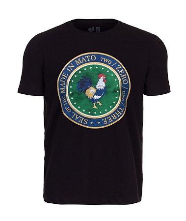 Camiseta Estampada Made in Mato Seal Rooster Preto
