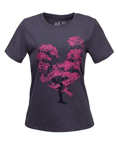 Tshirt Estampada Made in Mato Flor de Algodão Chumbo