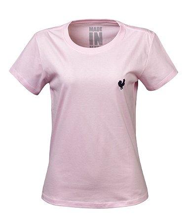 Camiseta Made in Mato Baby Look Básica Rosa Clara
