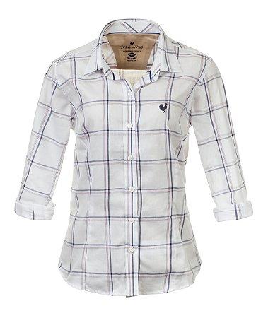 Camisa Made in Mato Feminina Xadrez Mix Azul
