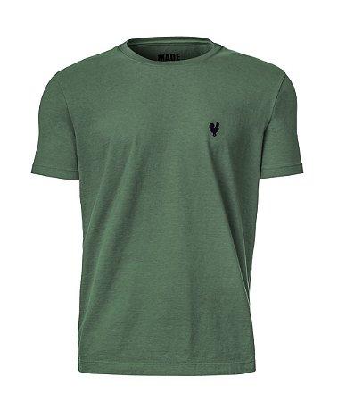 Camiseta Masculina Made in Mato Lisa Stone Verde Musgo
