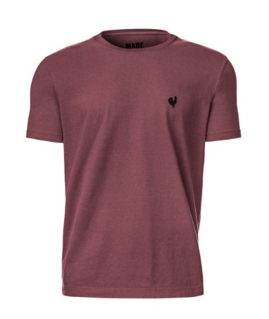 Camiseta Masculina Made in Mato Lisa Stone Bordô